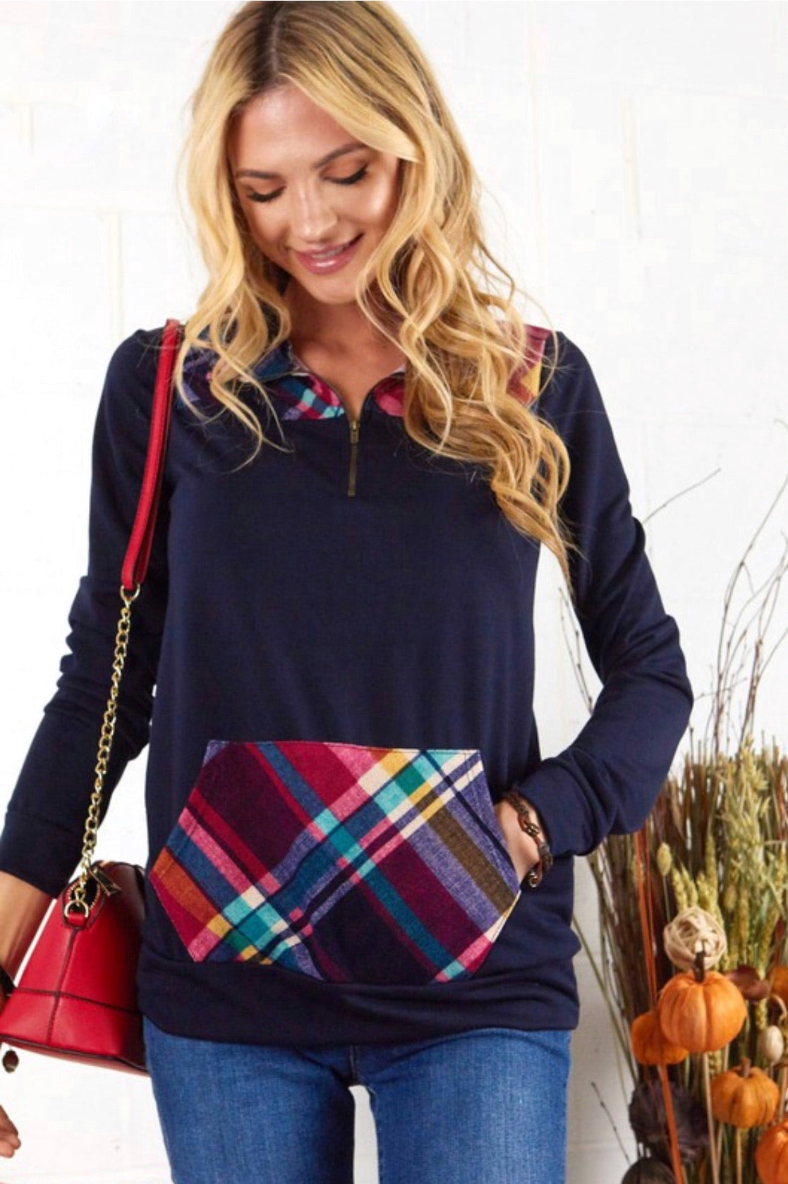Navy Quarter Zip Pullover w/ Plaid Contrast