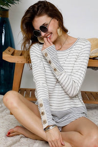 Grey Stripe Boat Neck with Lace Sleeve Detail