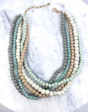 Mint Multi Strand Bead Necklace