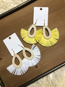 Raffia & Rattan Drop Earrings