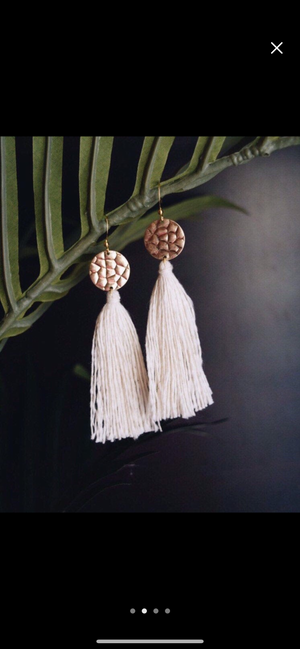 Rose Gold and Ivory Tassel Earrings