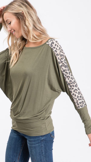 Olive Boat Neck w/ Animal Print Sleeve