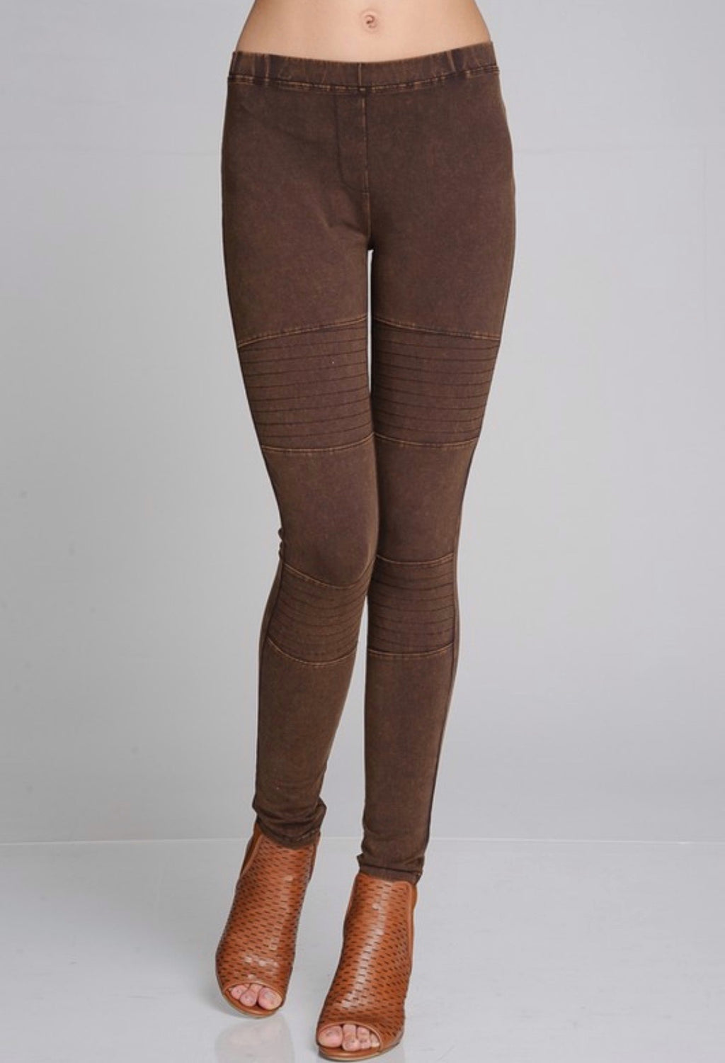 Brown Mineral Washed Moto Jeggings