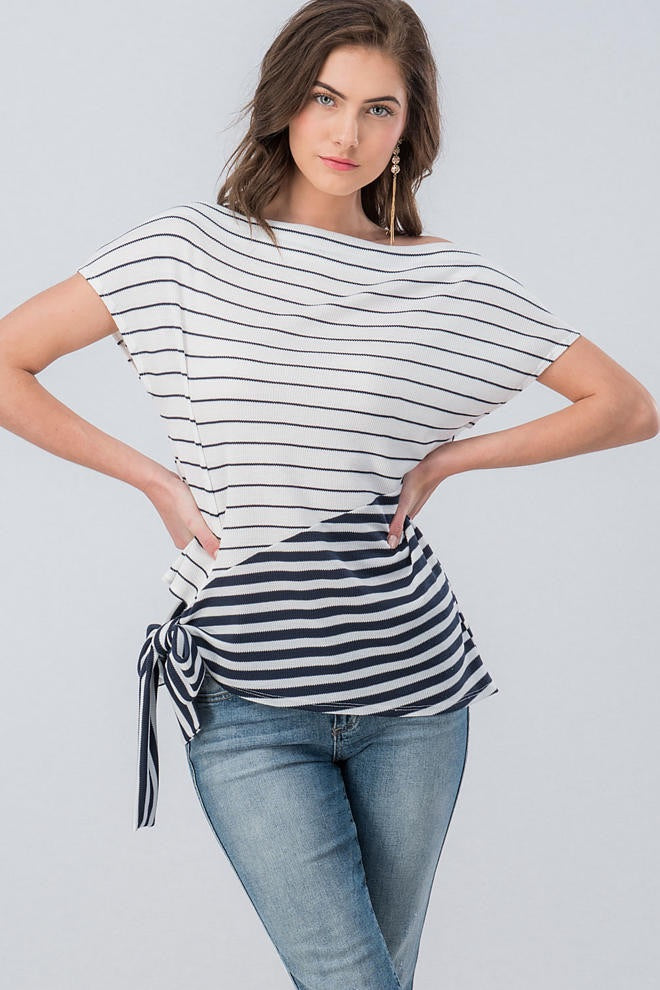 Boat Neck Inverted Stripe Top