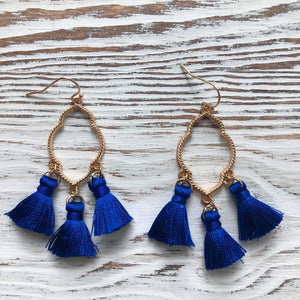 Blue Ava Gold Tassel Earrings