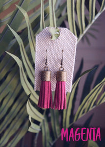 Pure Eclectics Magenta Suede Tassel Earrings