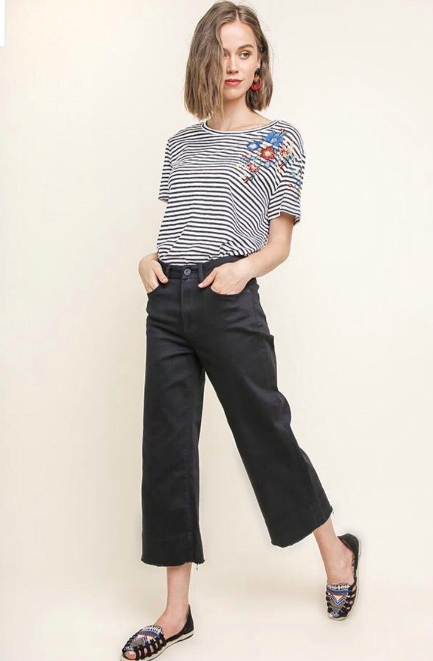 Black Cropped Wide Leg Jeans