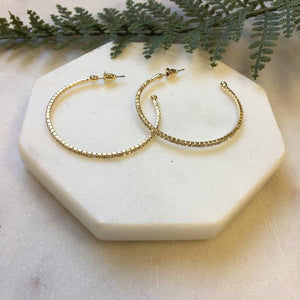 Gold Crystal Beaded Hoop Earrings