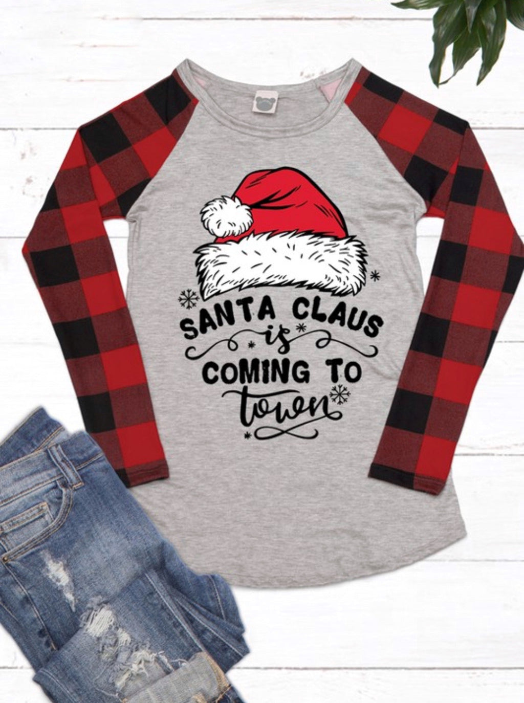 Santa Buffalo Plaid Long Sleeve Baseball Tee