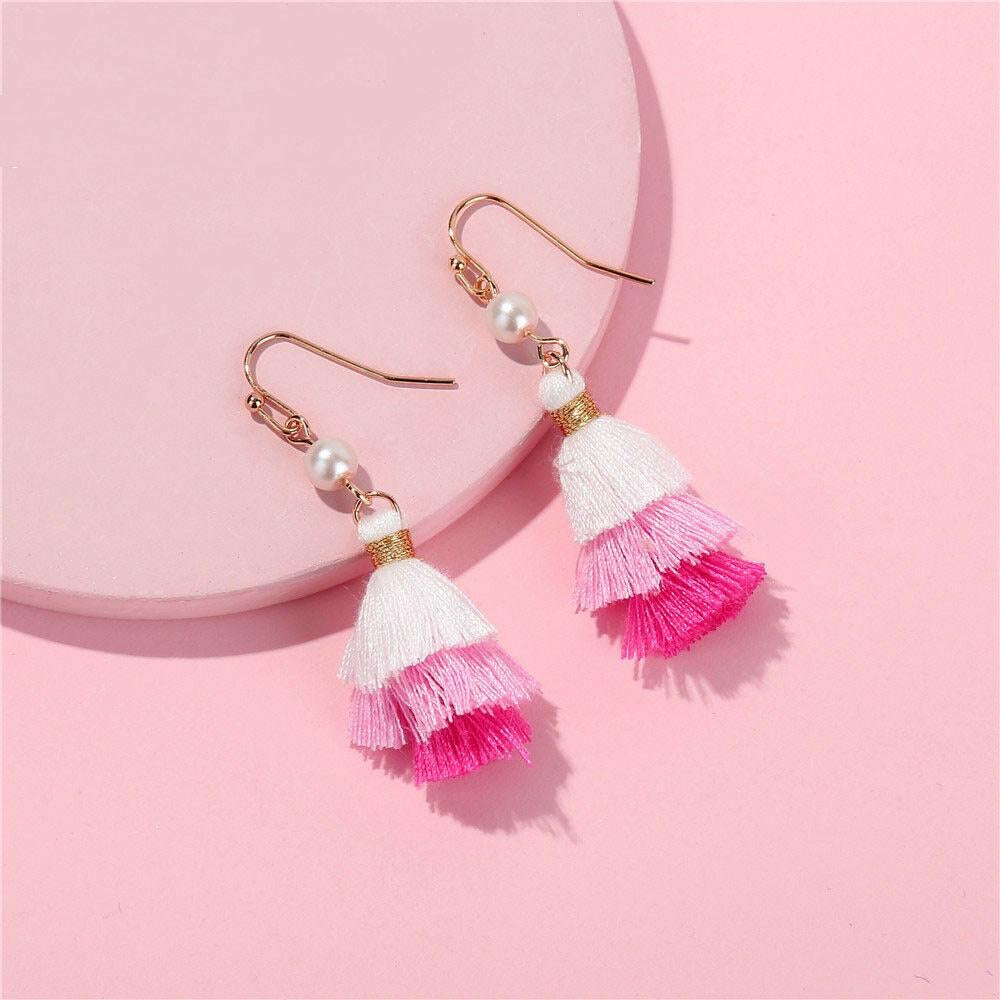 Mini Pink Tassel & Pearl Earrings