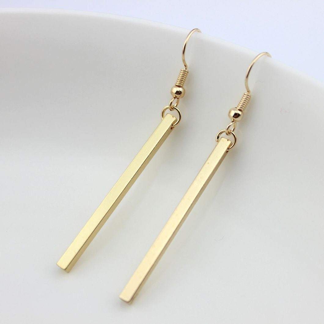 Gold Long Bar Earrings