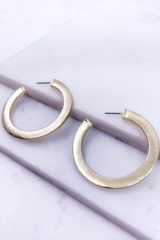 Brushed Matte C Hoop Earrings