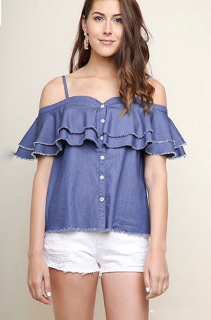Medium Denim Open Shoulder Sweetheart Top