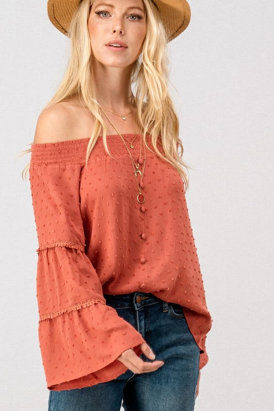 Pom Pom Smocked Off the Shoulder Blouse
