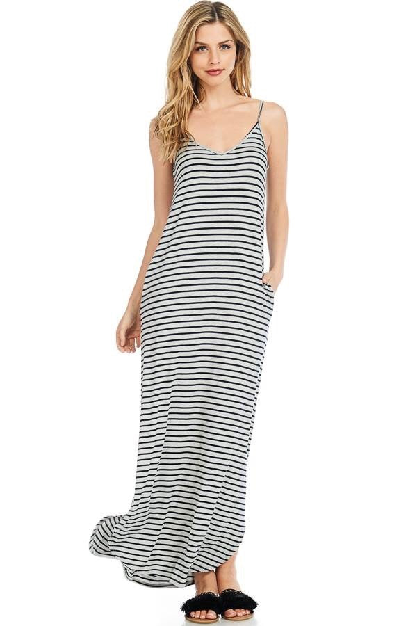Striped Strappy Maxi Dress