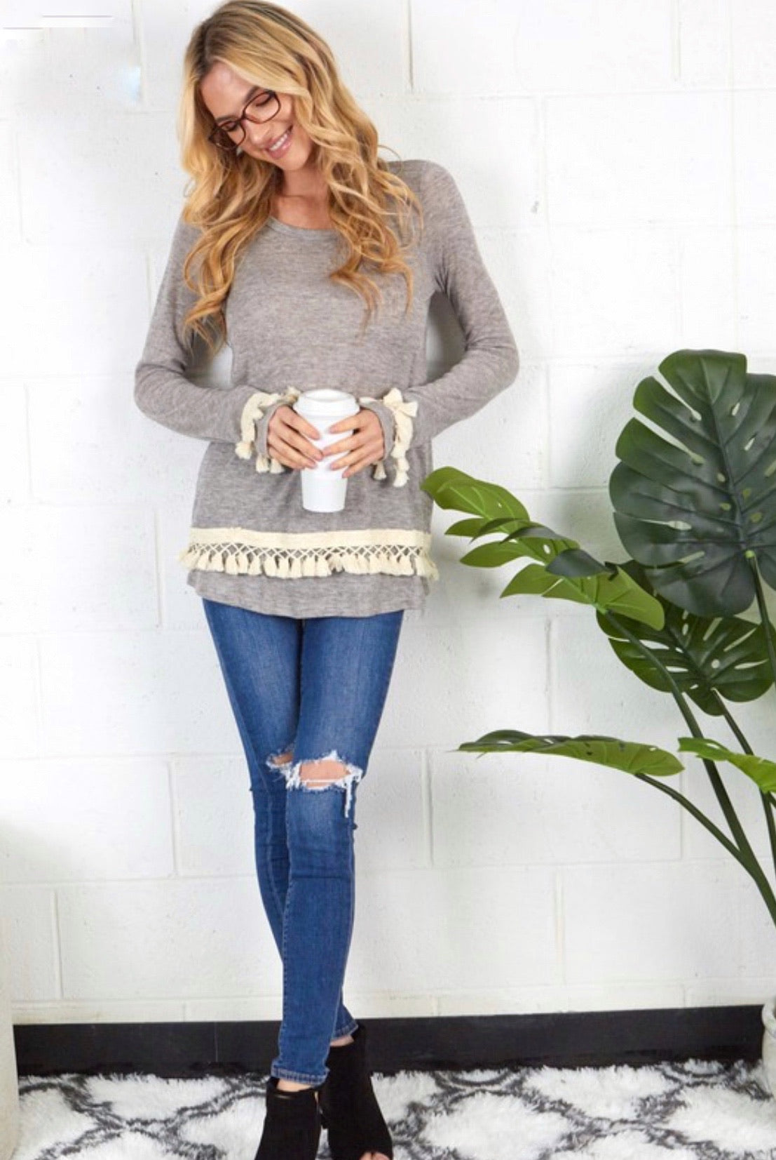 Grey Knit Sweater w/ Tassel Detail