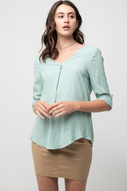 Mint V Neck w/ Pleat 3/4 Sleeve Top