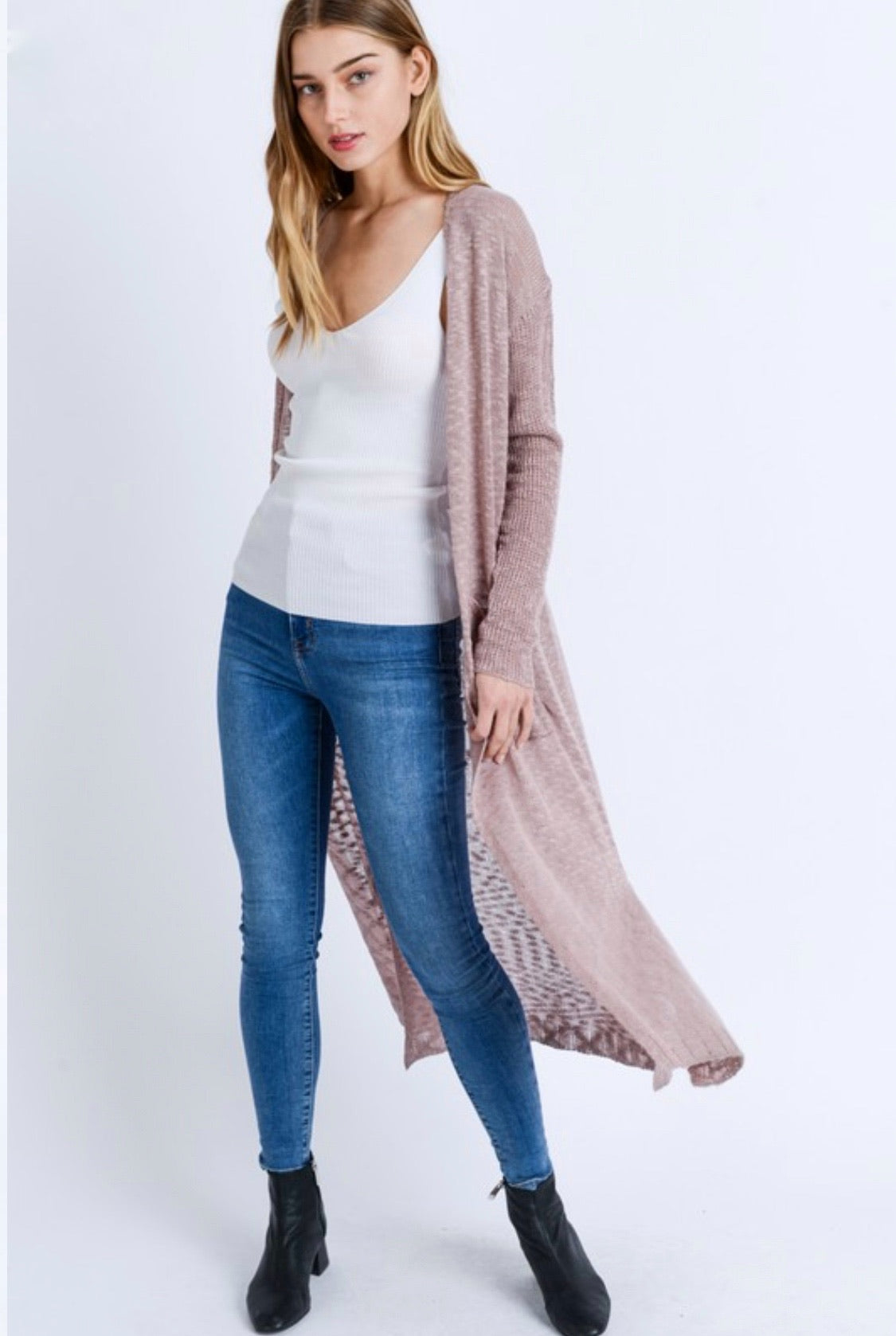 Mauve Loose Knit Duster