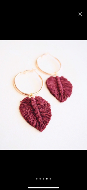 Macrame Feather Hoop Earrings