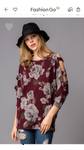 Burgundy Floral Print w. Open Shoulder