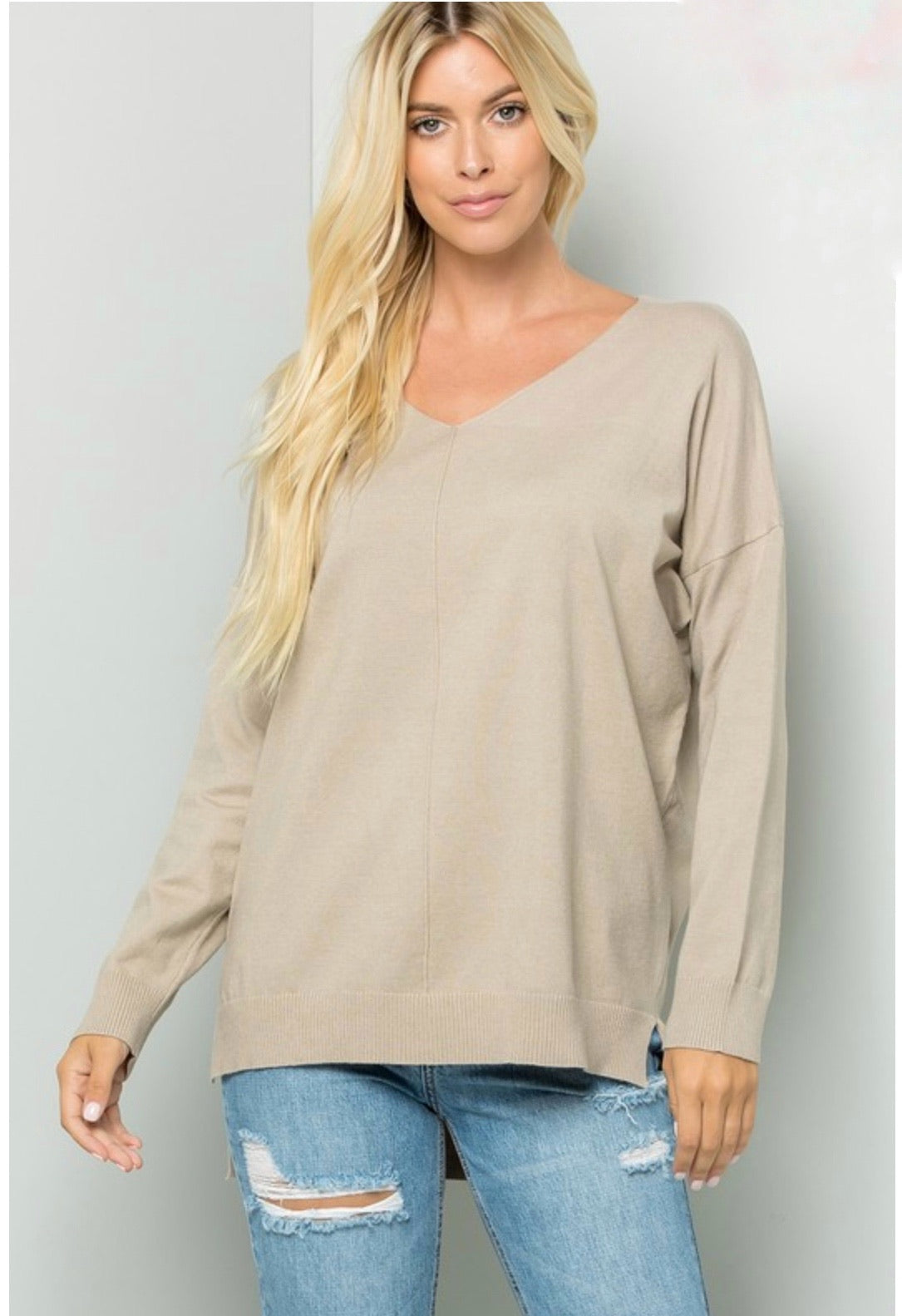Taupe V Neck Sweater