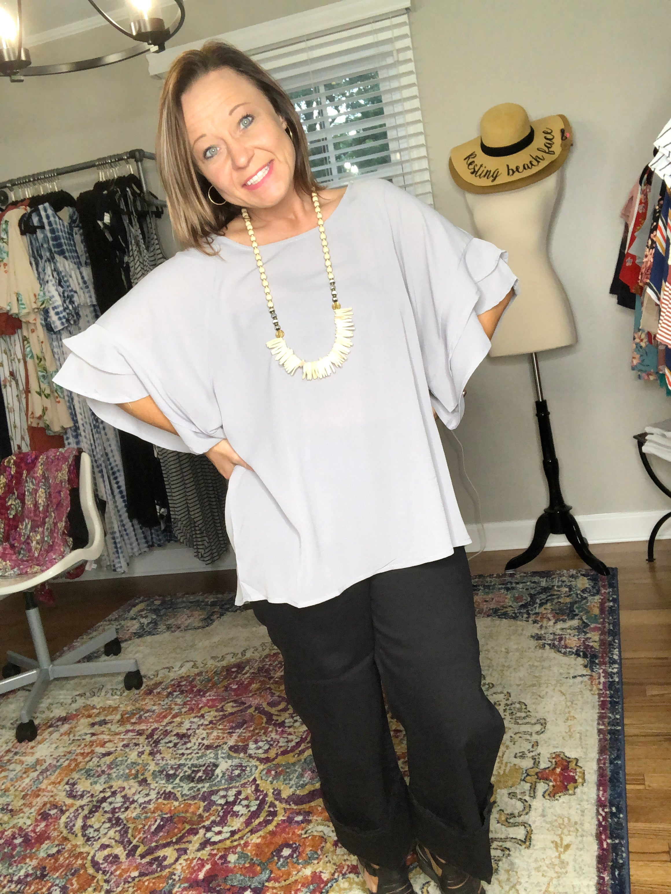Cool Grey Layered Ruffle Sleeve Top