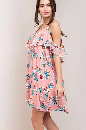 Cold-Shoulder Peony Print Dress