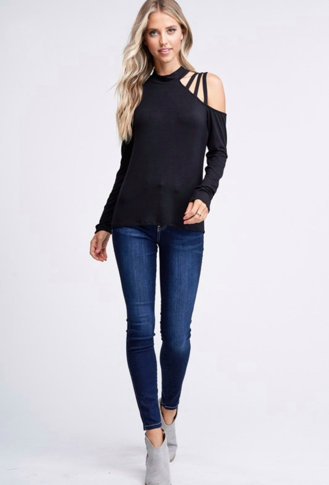 Black Long Sleeve w/ Strappy Shoulder Detail