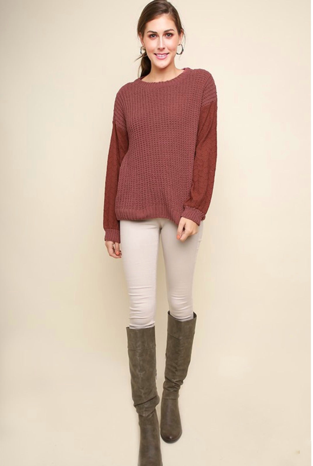 Rosewood Sweater w/ Poplin Lace Sleeve