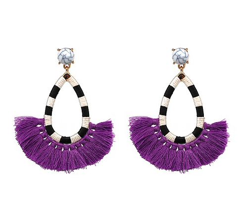 Marble Stud Fringe Earrings