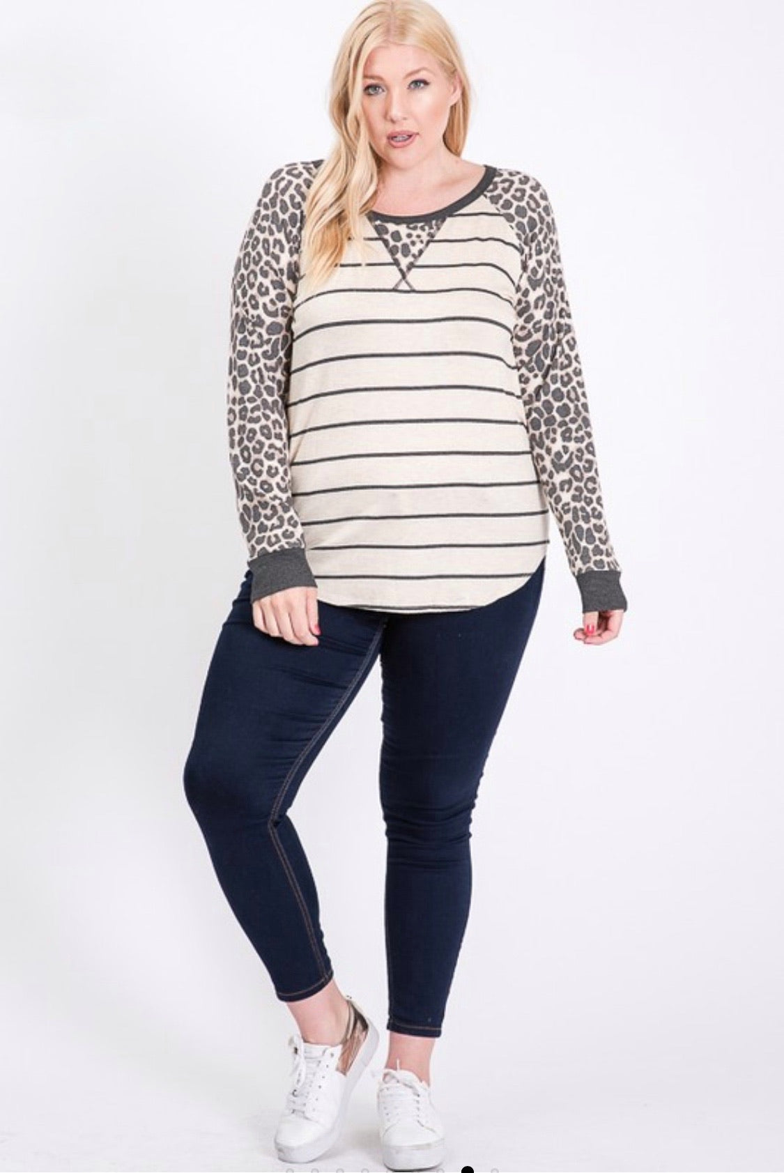 Oatmeal Striped Top with Animal Print Sleeves