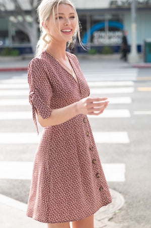 Maroon Plunge Neck Button Down Dress