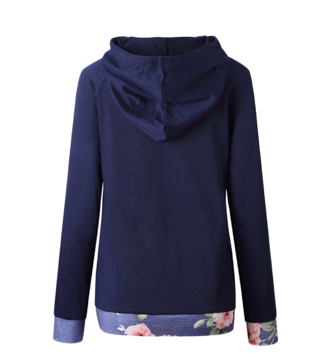 Navy and Floral Hooded Pullover