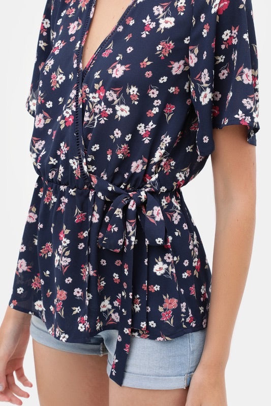 Navy Floral Crossover Top