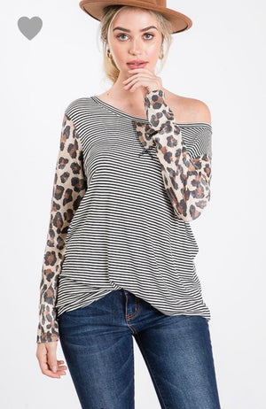 Striped Tunic w/ Animal Print Sleeves