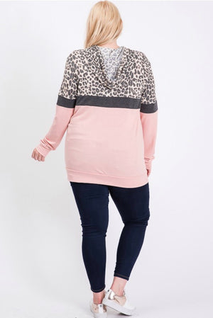 Blush and Leopard Pull Over - Plus