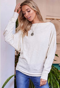 Ivory Boat Neck Dolman Sleeve w/ Zipper Shoulder Detail