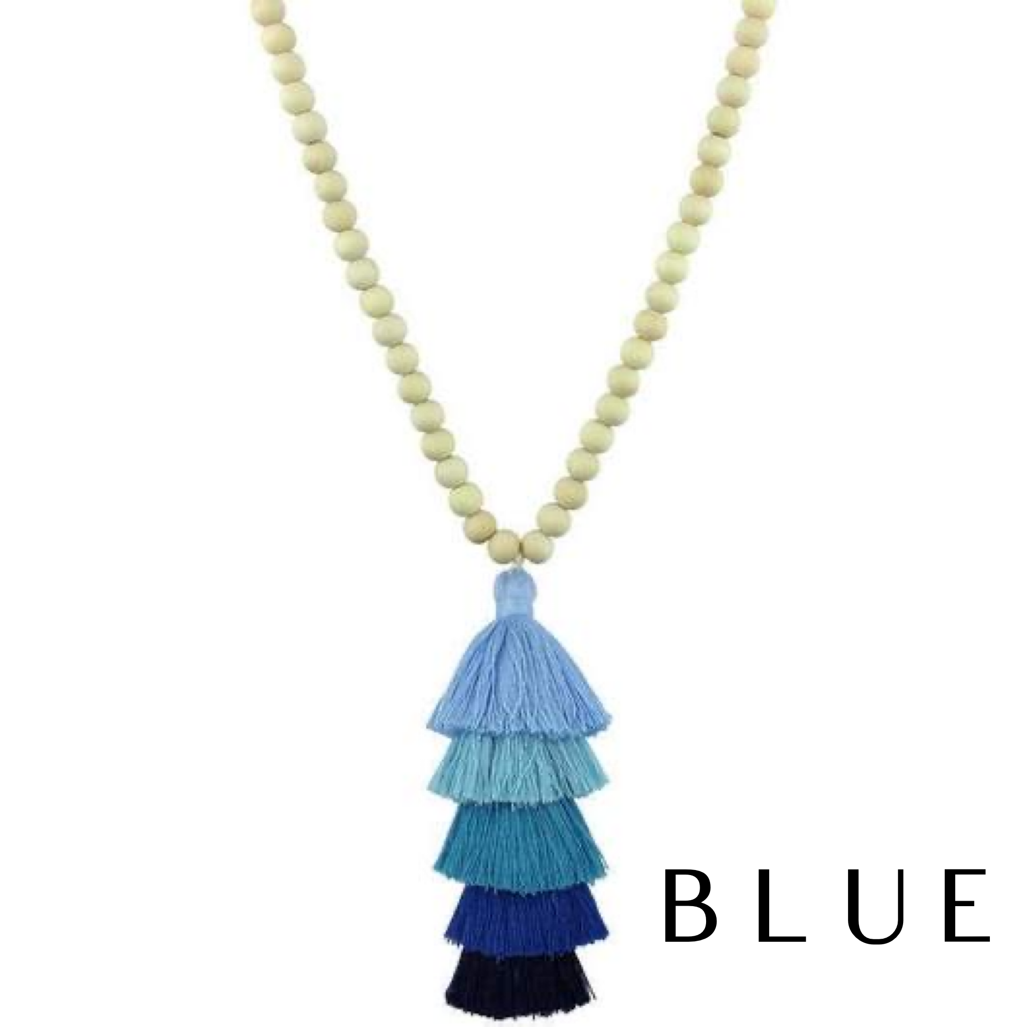 Layered Tassel Beaded Necklace