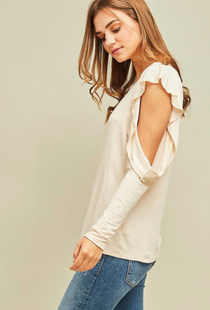 Ivory Open Shoulder Crepe Top