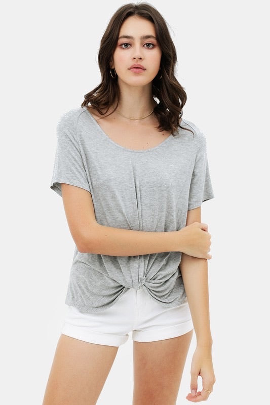 Grey Round Neck Twist-Front Top