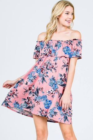 Flirty Floral Off Shoulder Swing Dress