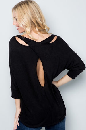 Black Cut Out Back Top Plus