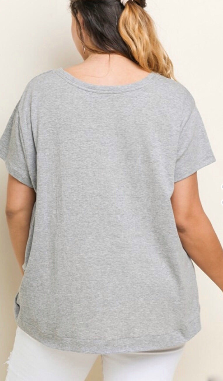 Grey Gathered Front Tee