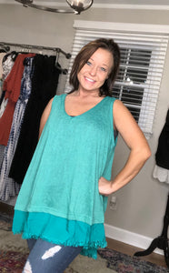 Emerald Slub Knit V-Neck Top
