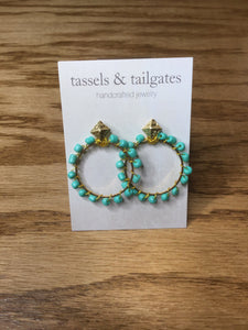 Lexi Turquoise & Gold Stud Hoop Earrings
