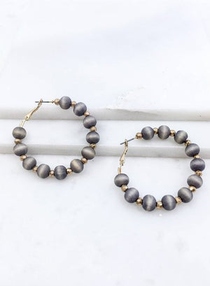 Wood Beaded Hoop Earrings