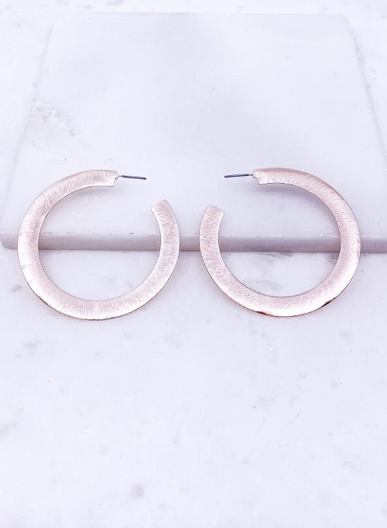 Brushed C Hoop Earrings