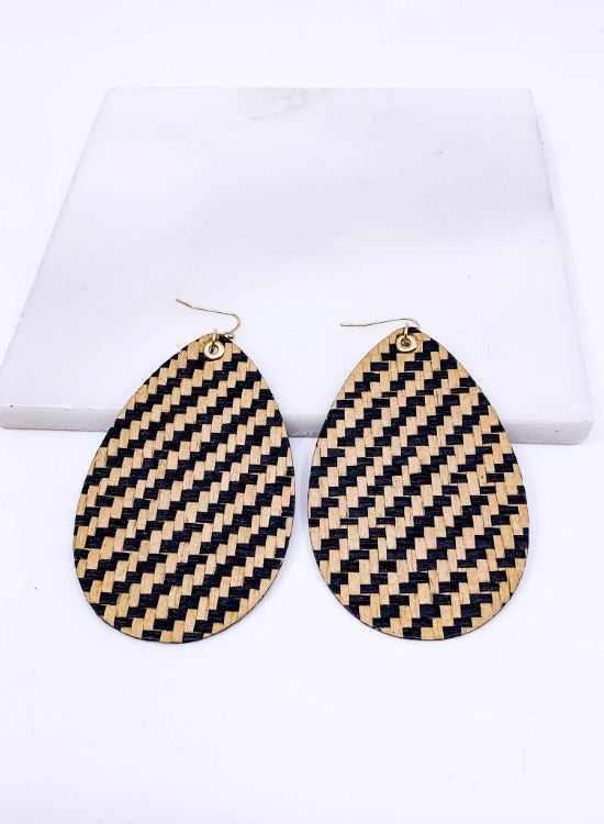 Wicker Rattan Teardrop Earrings