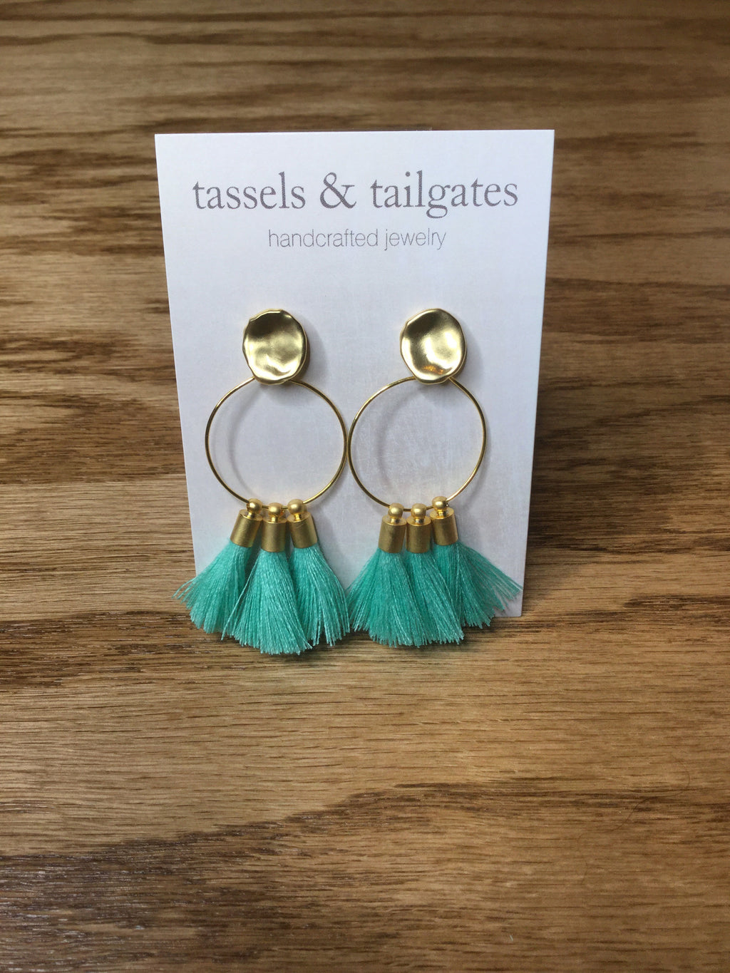 Ashton Tassel Hoop Stud Earrings in Aqua
