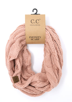C.C. Solid Cable Knit Infinity Scarf